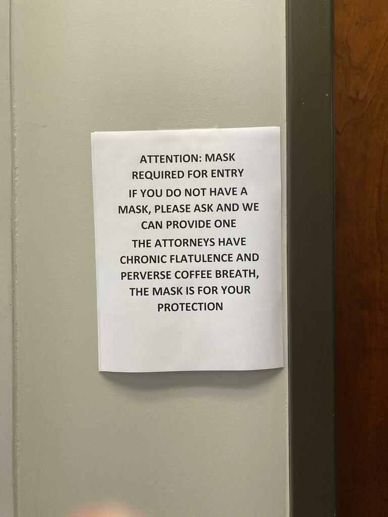 Seen at the local lawyers' office via /r/funny https://t.co/8GK8ukAhd5 #funny #lol #haha #humor #lmao #lmfao #hilarious #laugh #laughing #fun #wacky #crazy #silly #witty #joke #jokes #joking #epic #funnypictures https://t.co/VKNCdULWsW