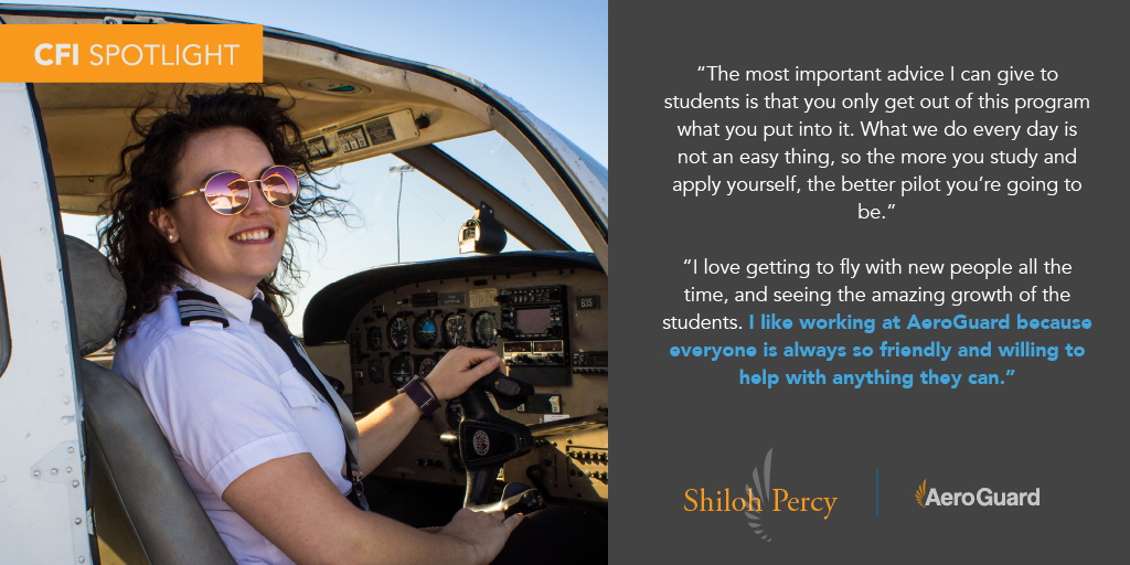 Shining brightly in the CFI Spotlight is Shiloh Percy! We're lucky to have her here at AeroGuard. Take a moment to learn more about this great pilot! 👩🏻✈️  #Aviation #AviationLovers #AviationPhotography #Pilot #PilotTraining #Planes #Airplane #FlightSchool https://t.co/OLK1VptPCk