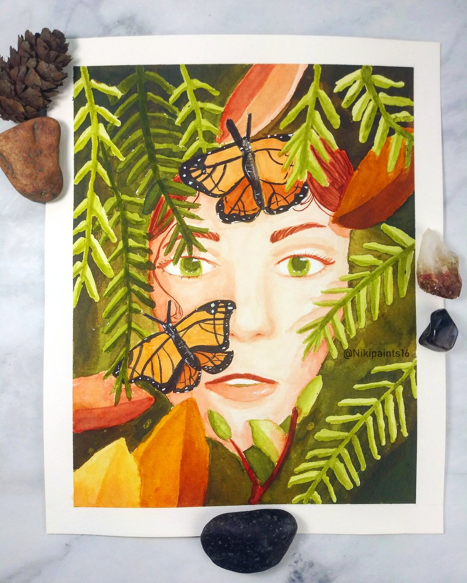 Using acrylic ink for this piece. The theme is mother nature, but season is in autumn. I loves how this turned out.  #MotherNature #acrylicink #inkillustration #nature #leaves #monarchbutterfly #Butterfly #autumn #fall https://t.co/D9OuwBHNih