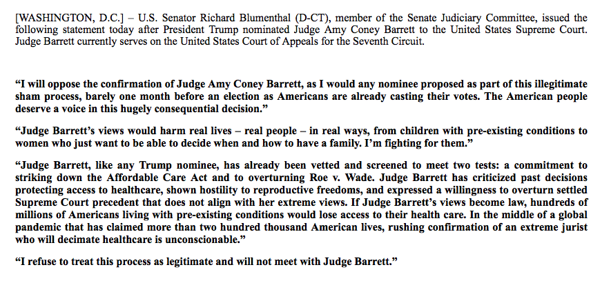 Msnbc On Twitter Sen Blumenthal On The Nomination Of Judge Amy Coney Barrett To The U S Supreme Court I Will Oppose The Confirmation Of Judge Amy Coney Barrett I Refuse To