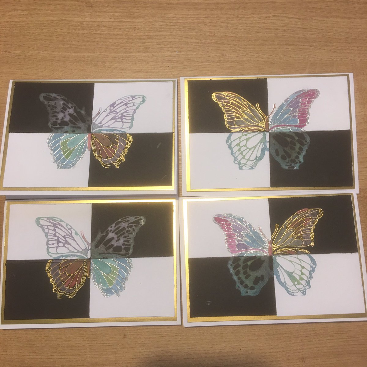 Day 26 of the Spectember challenge from @SpectrumNoir - Metallic  I stamped this @CraftersCompUK butterfly 4 times. Twice with metallic markers and twice heat embossed then coloured with metallic markers.  #spectember #crafting #handmade #cardmaking #crafturday #butterflies https://t.co/9YltYNshJF