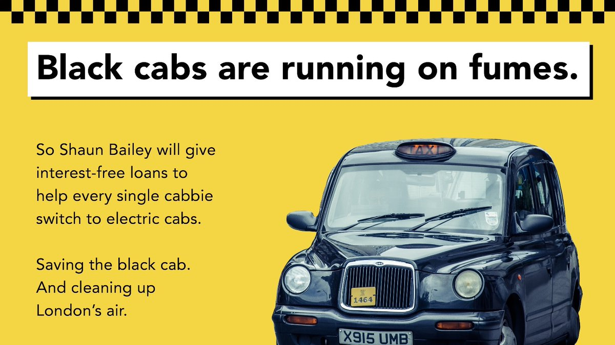 Electric black cabs cut pollution. We should have more on our streets.  But cabbies need financial help to switch — and @SadiqKhan isn't offering any.  So I'll give every cabbie an interest-free loan to buy an electric cab.  Protecting the iconic black cab and cleaning up our air https://t.co/yPLfgJCfyo
