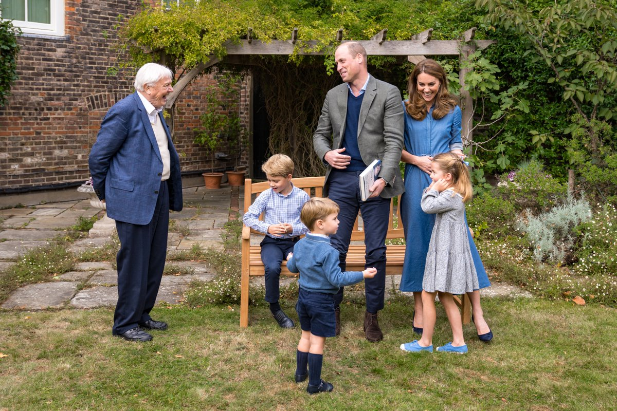 The Duke and Duchess of Cambridge are delighted to share new photographs of their family with Sir David Attenborough, taken after The Duke and Sir David attended an outdoor screening of Sir David's upcoming feature film.