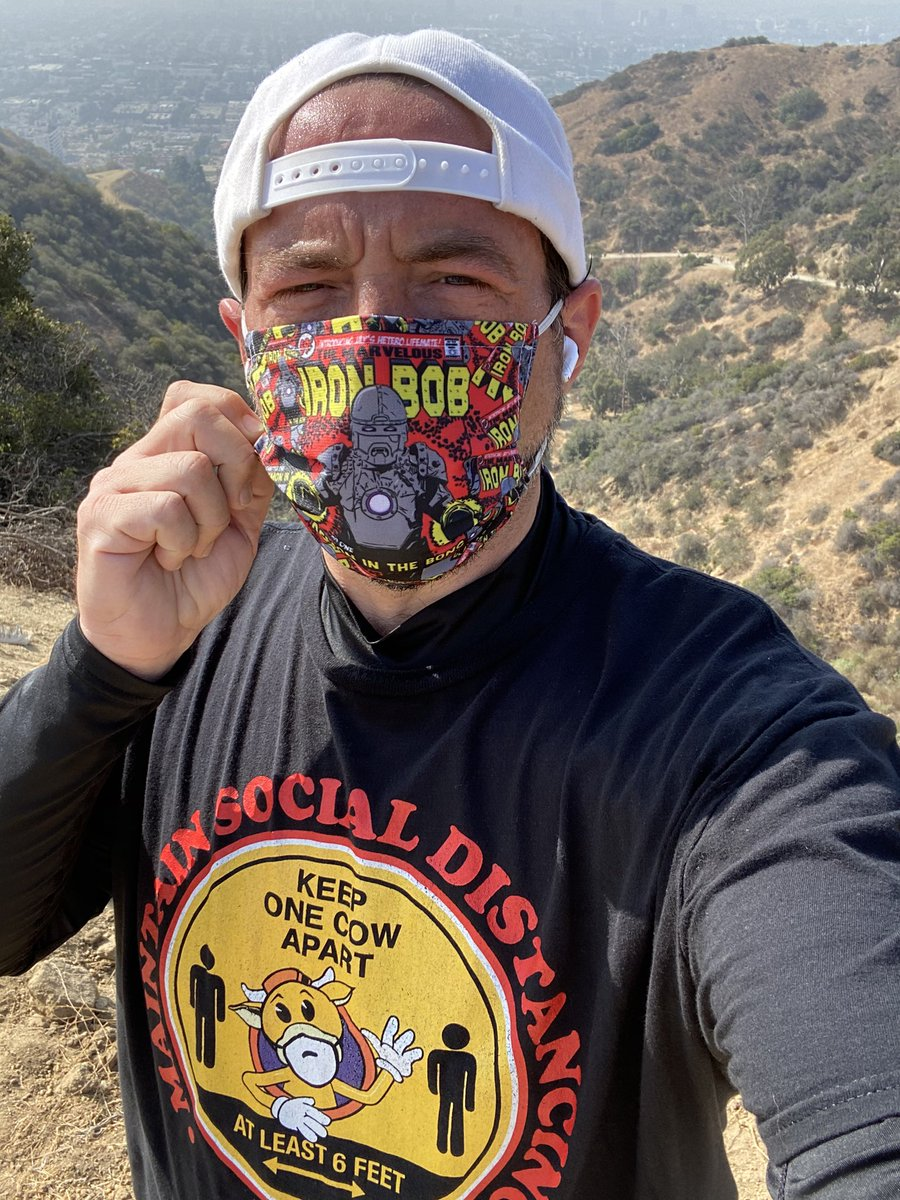 Take off this Iron Bob mask (available at https://t.co/0dz2YXz6Wx)? Heart attack made me high risk so I only unmask when I'm alone. But you're never alone on Runyon because it's always packed with mask-less folks panting heavily right beside you (who I frame out of my selfies). https://t.co/hGA9eiNWcK https://t.co/V3wOcdcuVB