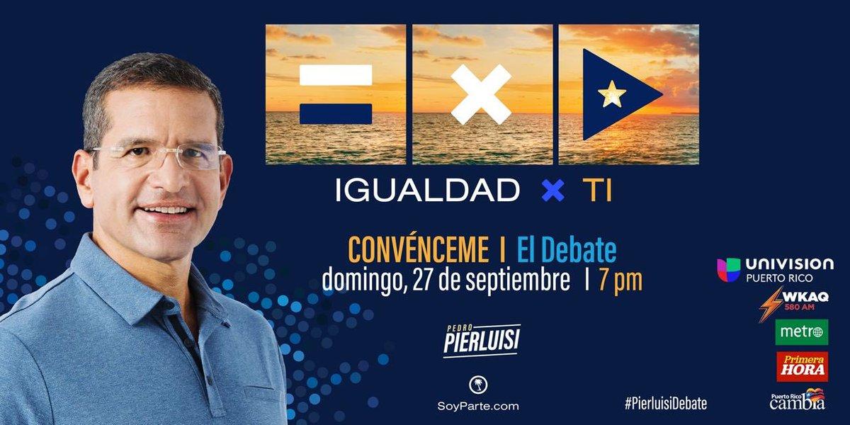 Mañana estaré presente en #Convénceme El Debate a las 7:00PM por @UnivisionPR @WKAQ580 Metro PR y @primerahora. Voy a presentarte mis compromisos para cumplir contigo y brindarte el gobierno de excelencia que te mereces. ¡Juntos lo lograremos! #SeParte #PierluisiDebate https://t.co/Xqt7CMtLum
