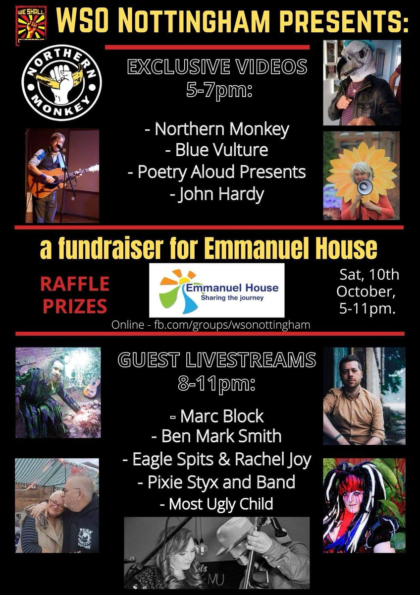 Pls RT. Details of WSO Notts #fundraiser for @emmanuel_house_ *10th OCTOBER, 5-11PM* Featuring a mix of exclusive vids & super special livestreams. It's going to be beautiful! Details of raffle to follow.  #WSO2020 #raisedfist #helpinghand #tacklinghomelessness Cc @WeShallWeekend https://t.co/eGoZDuCGou