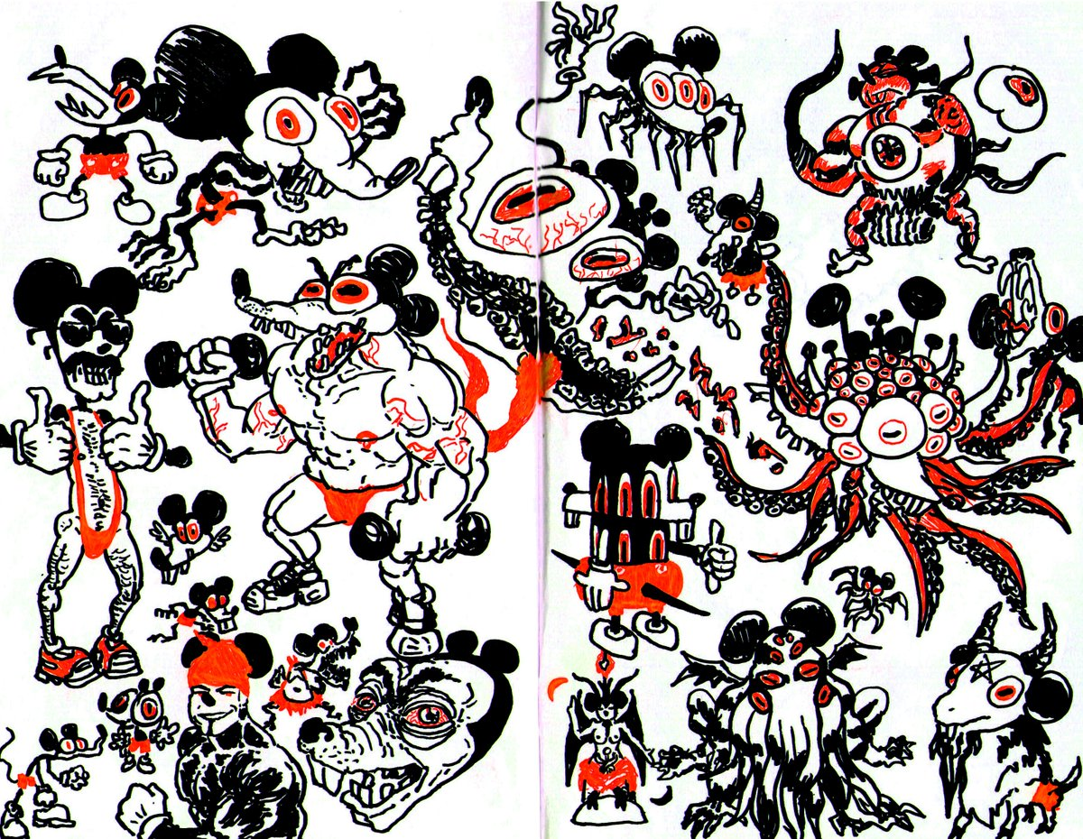 I was looking my sketchbooks from last year and I felt like scanning this drawings I made for the ugly mickey contest https://t.co/3iBIJ2H40P