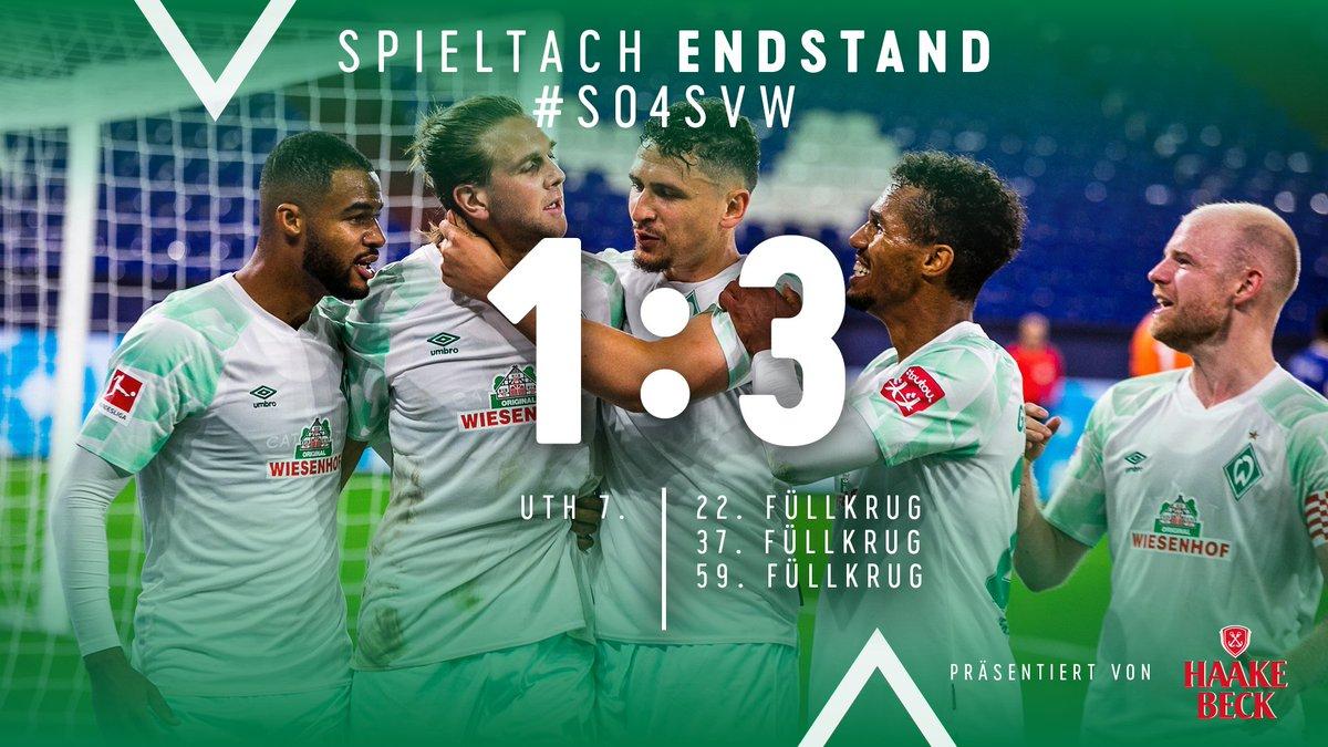⏱ 90. +2 Min  🏁 Dann ist Feierabend. Wir gewinnen Auf Schalke und holen die ersten drei Punkte der Saison!💚   ⚽️ 1:3 #s04svw https://t.co/x5uUmGMc1Z
