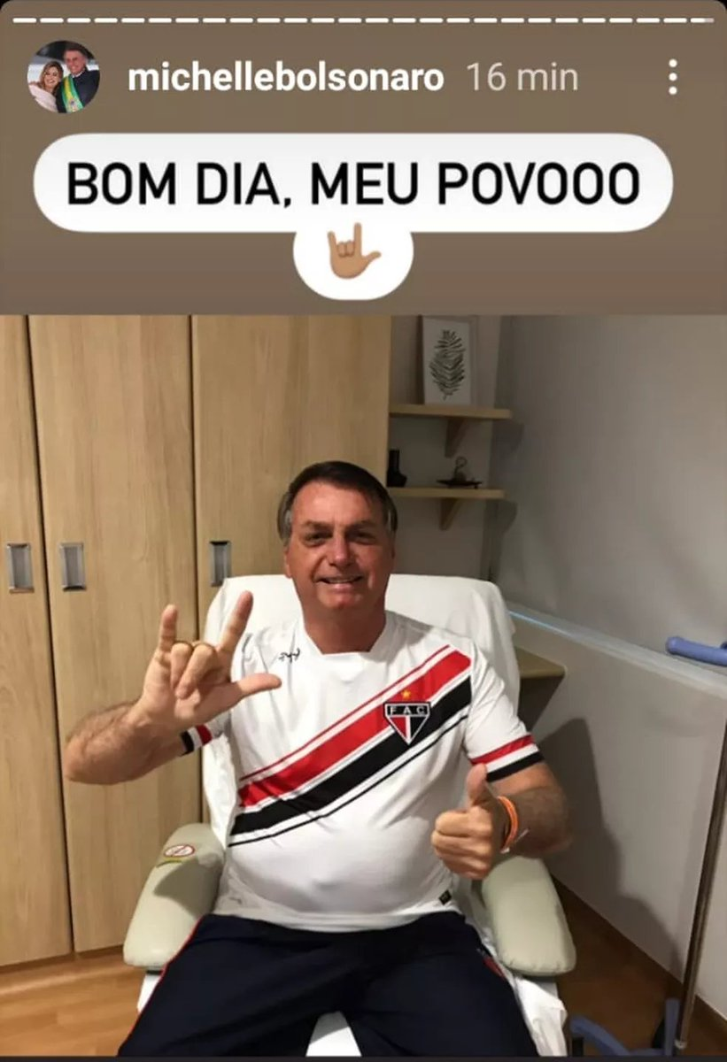 A primeira-dama Michelle Bolsonaro postou uma foto do marido nas suas redes sociais nesta manhã. O presidente #Bolsonaro aparece sorrindo e fazendo um sinal de positivo com a mão. Ele usa uma camisa do time de futebol cearense Ferroviário Atlético Clube (FAC), de Fortaleza. https://t.co/Y6txrXKYTL