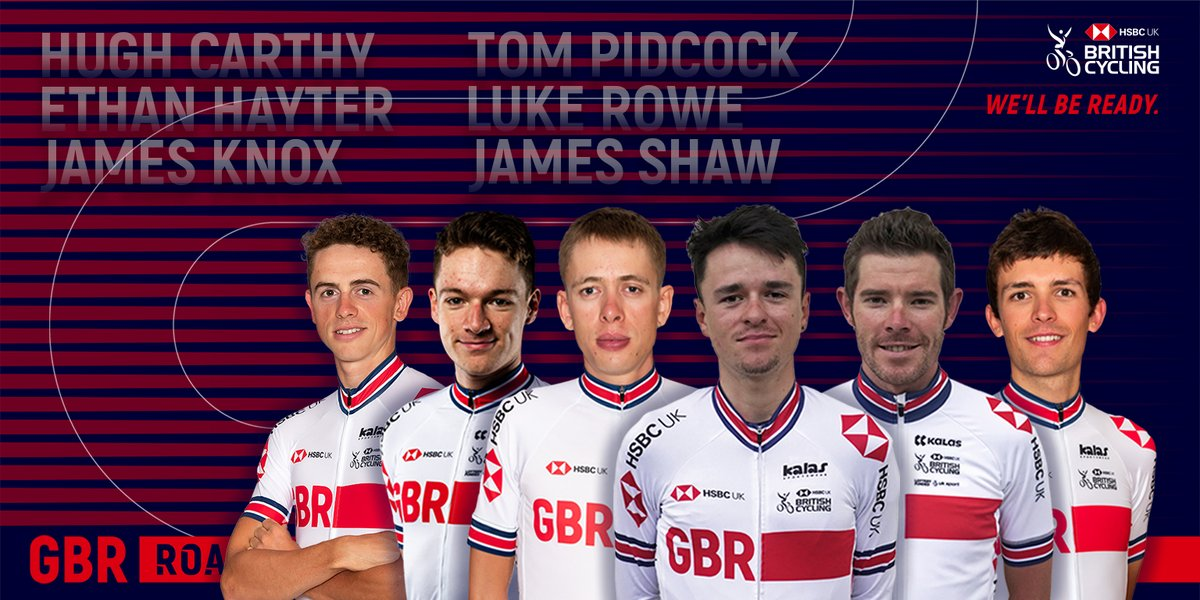 Great Britain Cycling Team line up for the @UCI_cycling Road World Championships elite men's road race 👇🇬🇧  Watch live coverage via @BBCSport and @Eurosport_UK 📺  #Imola2020 #GBCT https://t.co/mY1PuZ4ha0