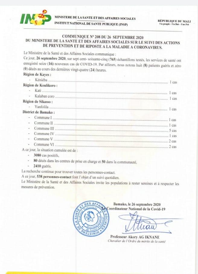 🇲🇱𝗠𝗔𝗟𝗜  𝗦𝗶𝘁𝘂𝗮𝘁𝗶𝗼𝗻 #𝗰𝗼𝘃𝗶𝗱_𝟭𝟵 𝗱𝘂 𝟮𝟲/𝟬𝟵/𝟮𝟬𝟮𝟬   ☑️ Nouveaux cas:𝟭𝟲 ☑️ Décès:𝟬𝟬 #mali #mauritanie #sénégal https://t.co/8fjNWjr4R7