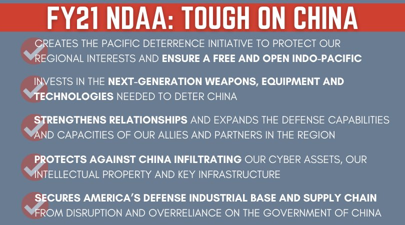 We know China is trying to mount a credible threat against America and our way of life – and we need to make sure that never happens. The Senate-passed #FY21NDAA strengthens deterrence and enhances investment to deter and, if necessary, fight and win against China https://t.co/7XQTNgjFuS