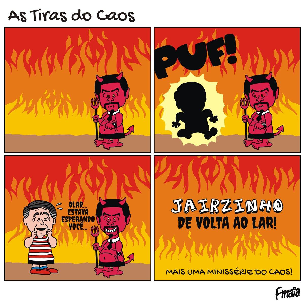 Vocês estão preparados pra mais uma minissérie caótica?!? Então  TOMA!!! 🤣🤣🤣 - #astirasdocaos #brasil #meme #quadrinhos #comicstrip #atchurmadojairzinho #peanuts #biroliro #bozonero #salnorabo #bolsonaro #devoltaaolar #inferno #capeta #homecoming #cristofobia #sitcom https://t.co/Eun05WfsTR