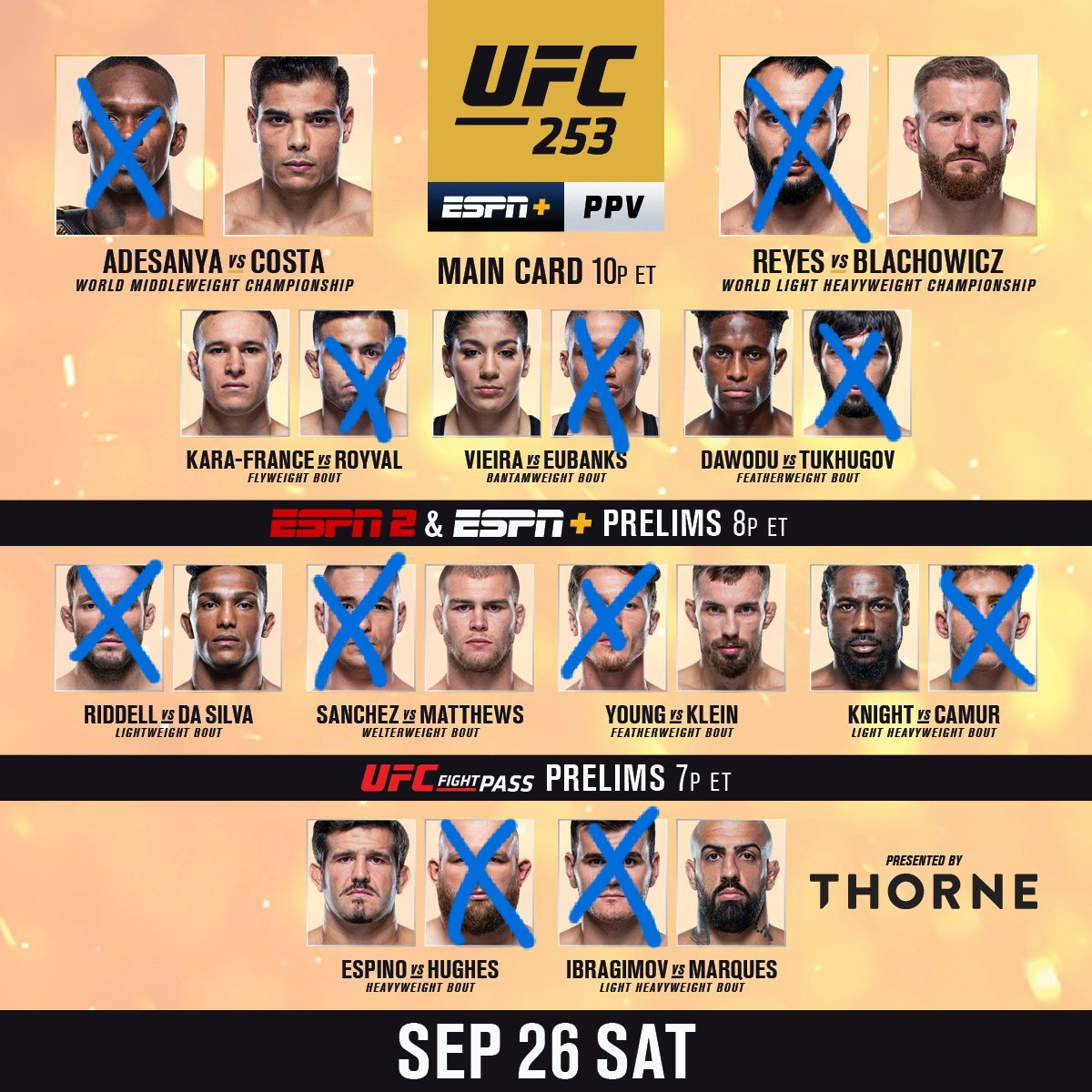 Here's our picks for tonight🔥 Scott's in blue, Marc's in red 👊🏼 who you got?🤷🏻♂️  https://t.co/s7QTBGNi7D  https://t.co/K9w7uTuGDp  https://t.co/Z9RxFWPozo  #MMATwitter #mma #UFC #UFCvegas #UFCVegas11 #UFC254 #ufc253 #PodernFamily #podcast #podcasting #UFCFightNight https://t.co/Q2Fo5LFoMb
