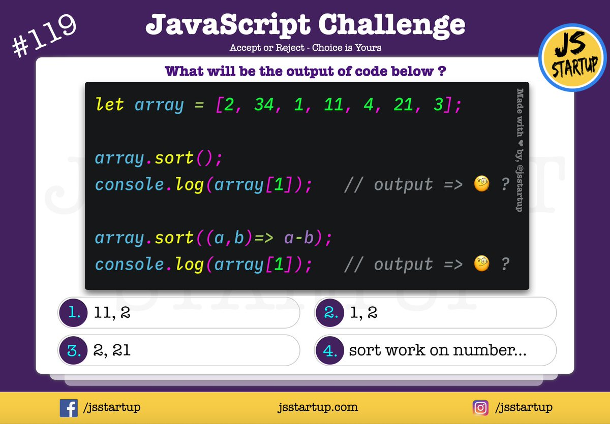 Hey guys, the number is easy to sort 😅 Day 119/365 #javascript #challenge but still, js can do it properly 😎   Run code - https://t.co/MZp7Irh81m   🎉 JavaScript Quiz - `numbers array can be sort` 🎊   #js #tips #tricks #tutorial #100DaysOfCode #365DaysOfCode #quiz https://t.co/2P9fM6lypU