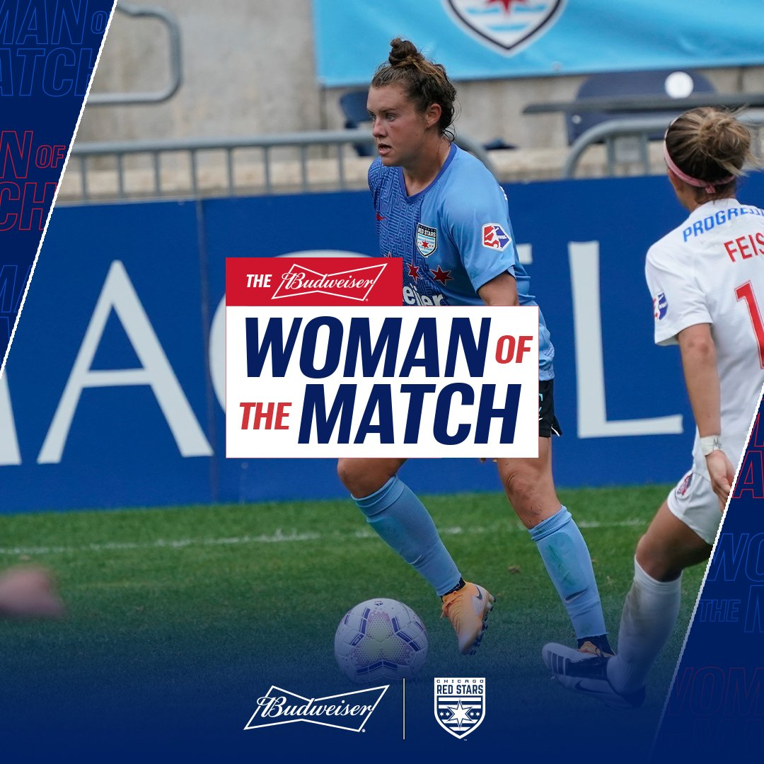 Today Savannah McCaskill earns the title of Budweiser Woman of the Match for relentlessly putting on the pressure resulting in a goal in the 72 | #MKOT