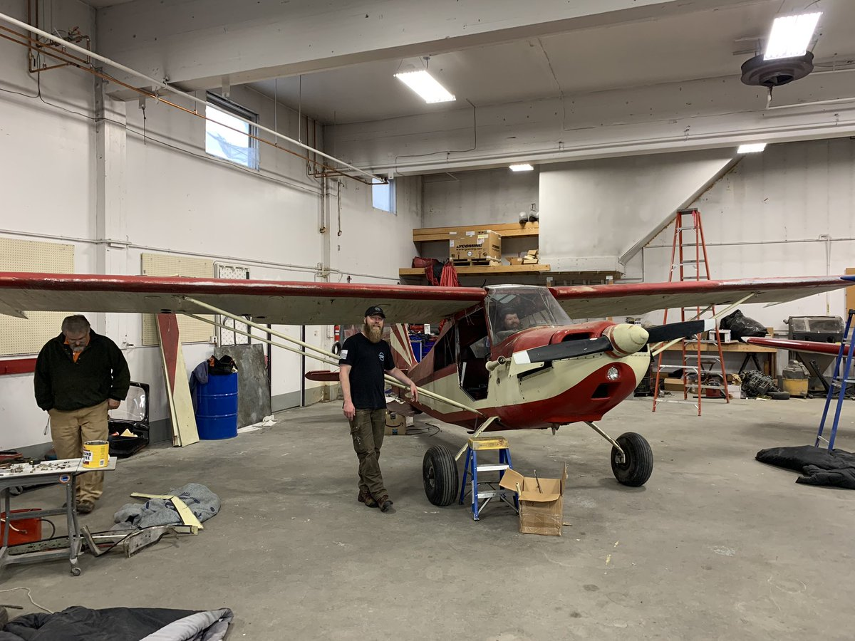 Wings! It has wings!! Do you have a name suggestion for the Citabria? Eric and Lee are cool with the some Permafrost Beards propaganda going on the plane. Keep Your Facejacket On! #7gcaa #citabria #projectplane #alaska #fairbanks #beardedpilot #nickandbean https://t.co/uvdkwlutpy