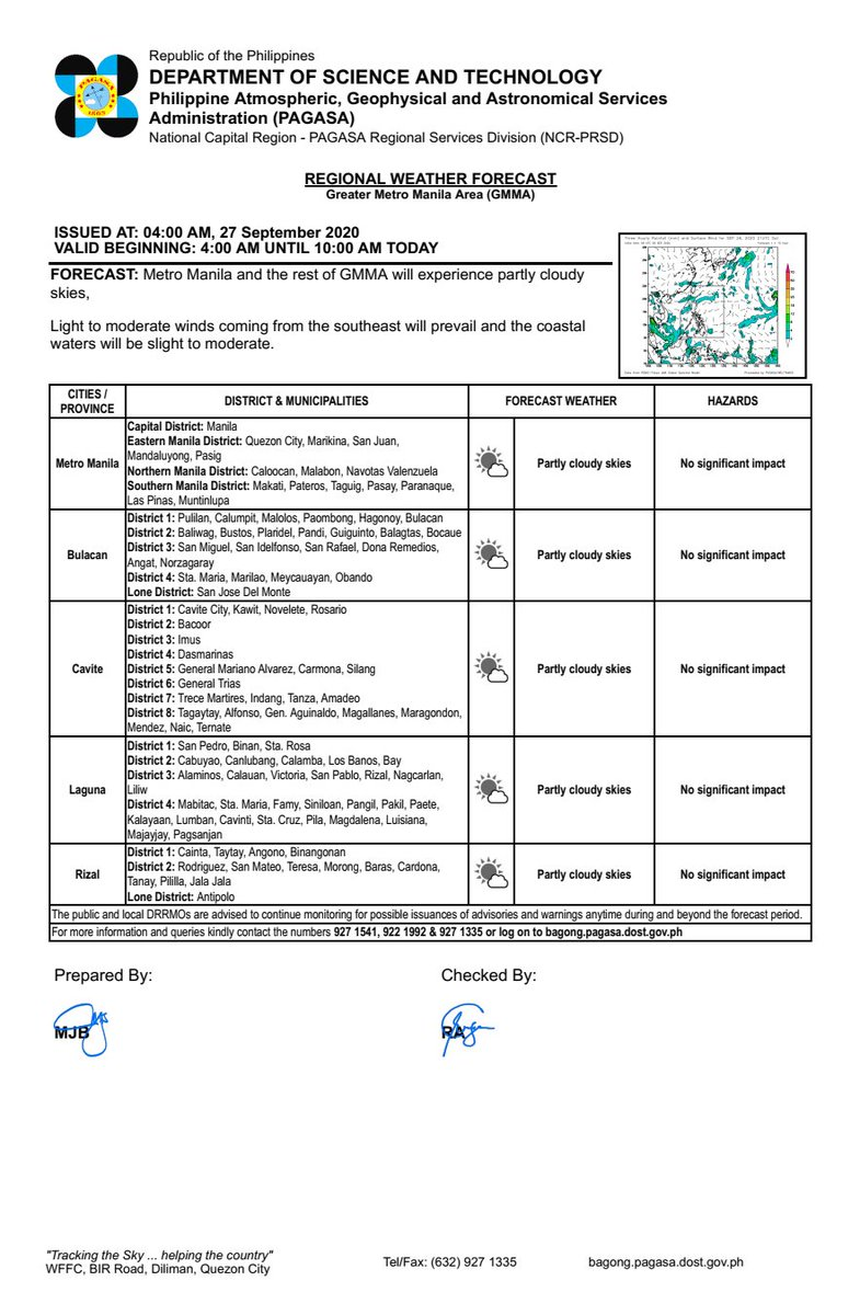 REGIONAL WEATHER FORECAST for GREATER METRO MANILA AREA (GMMA) #NCR_PRSD Issued at: 4:00 AM, 27 September 2020 Valid Beginning: 4:00 AM - 10:00 AM today  https://t.co/fiReKijVAd https://t.co/7hOTjP5uSW