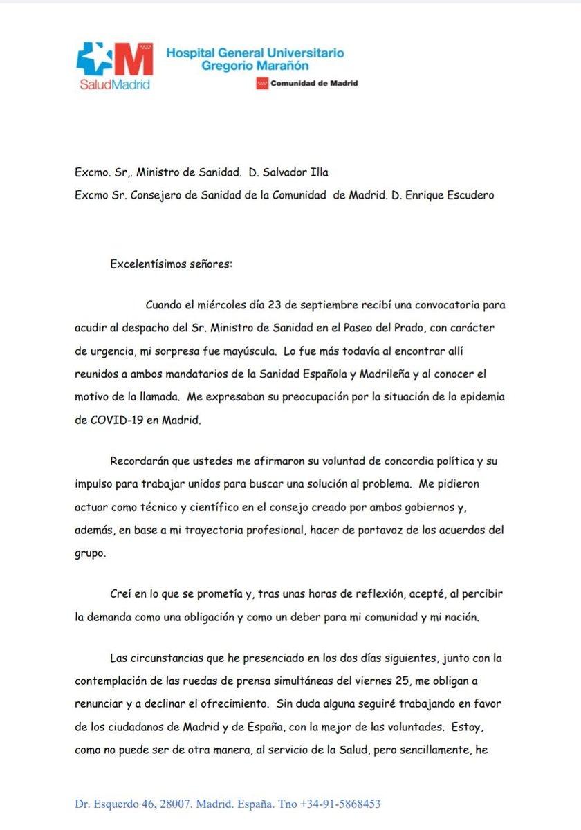 7 horas después... ni 48 h ha aguantado #EmilioBouza, portavoz del grupo #Covid elegido por consenso de @salvadorilla y @eruizescudero.  Un #científico independiente de los #políticos nos muestra el camino: #BastaYa Gracias #EmilioBouza por tu integridad ante esta clase #política https://t.co/RfOOV8W5aR