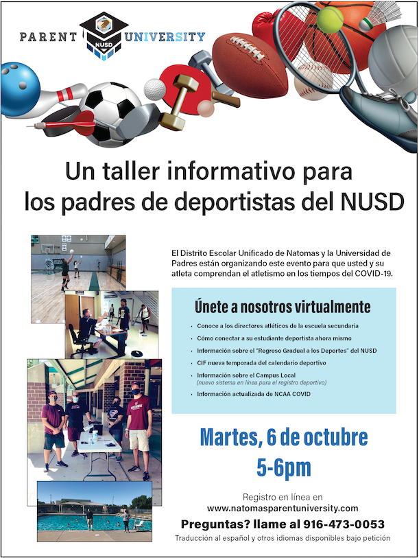 Mark your calendars! Parent University is hosting a virtual Athlete Workshop for parents of NUSD student-athletes. Details below & at https://t.co/hqNWTsSIem https://t.co/X4XcO2PdpE