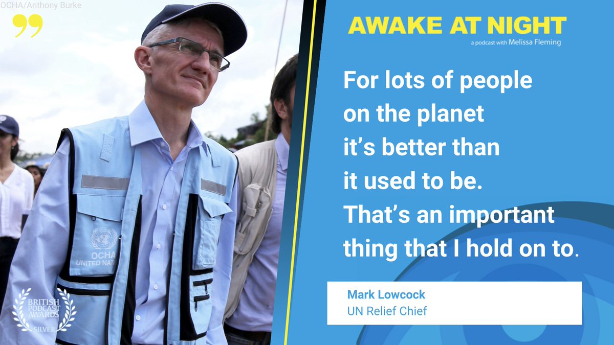 .@UNReliefChief coordinates humanitarian responses to crises around the world for @UNOCHA.  In new episode of Awake At Night podcast, he shares with @MelissaFleming what motivated him to devote his life to help people suffering from war, poverty & famine. https://t.co/OPcdN5J1AL https://t.co/KFJcfk4fkq