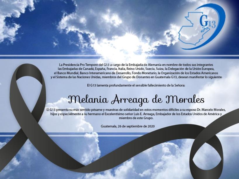 test Twitter Media - El G13  lamenta el fallecimiento de Melania Arreaga de Morales, hermana del embajador de EE. UU. en Guatemala, Luis E. Arreaga. https://t.co/046DC2Agdy
