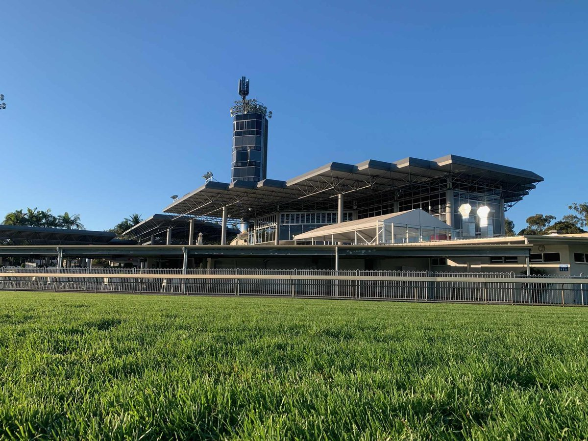 Sunshine Coast Track update Weather fine Track Good 4 Rainfall nil past 24hrs with a total of 4mm past 7 days Irrigation 6mm past 24 hrs making a total of 34mm for past 7 days Rail 8m out the entire circuit Regards Murray Weeding @RadioTABAus @SCTurfClub