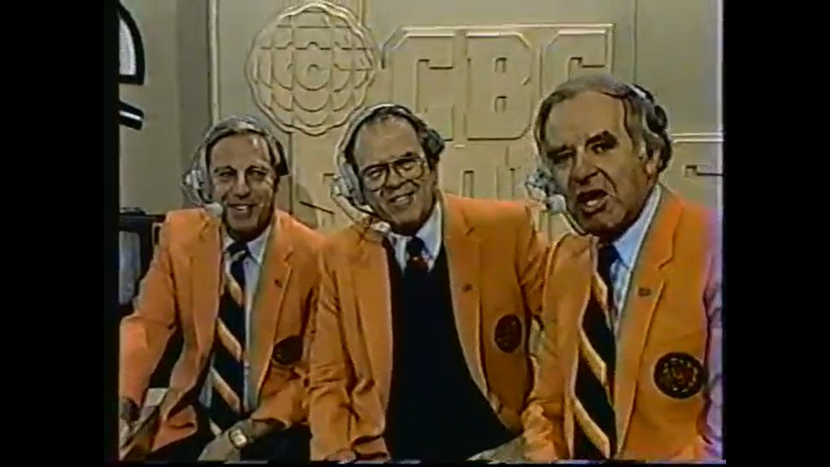 One of the best commentary teams the #CFL has ever had: Ron Lancaster, Leo Cahill & Don Wittman. They each got to sport that awesome jacket. https://t.co/MqrBe8ARG4