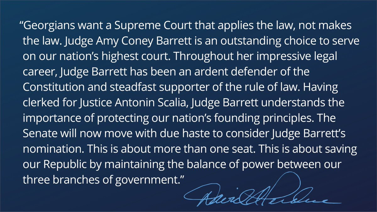 Judge Amy Coney Barrett is an outstanding choice to serve on our nation's highest court. My full statement: