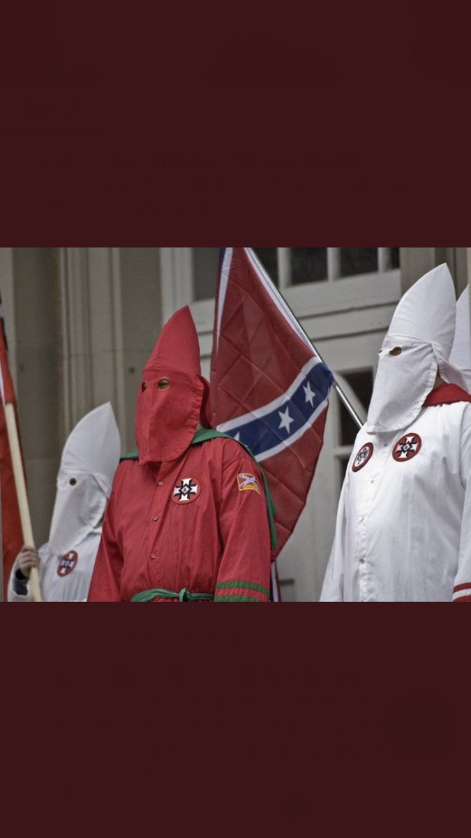 #BlackAmerica/#America the #KuKluxKlan are a terrorist organization,yet the FBI and the local police department let them parade around in your community spreading hate and fear,#45th said they are good people's,#45th father was arrested at a #KKK rally, VOTE AMERICA!!! https://t.co/BkbUVqMlhA