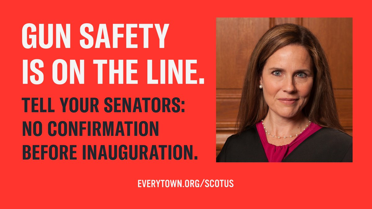 Pres. Trump's #SCOTUS nominee Amy Coney Barrett is a gun rights extremist who has no place on the Court. Just last year, she wrote an opinion opposing laws keeping guns out of the hands of people convicted of serious felonies. With her on the bench those laws would be at risk. https://t.co/q8LcdQMMwg