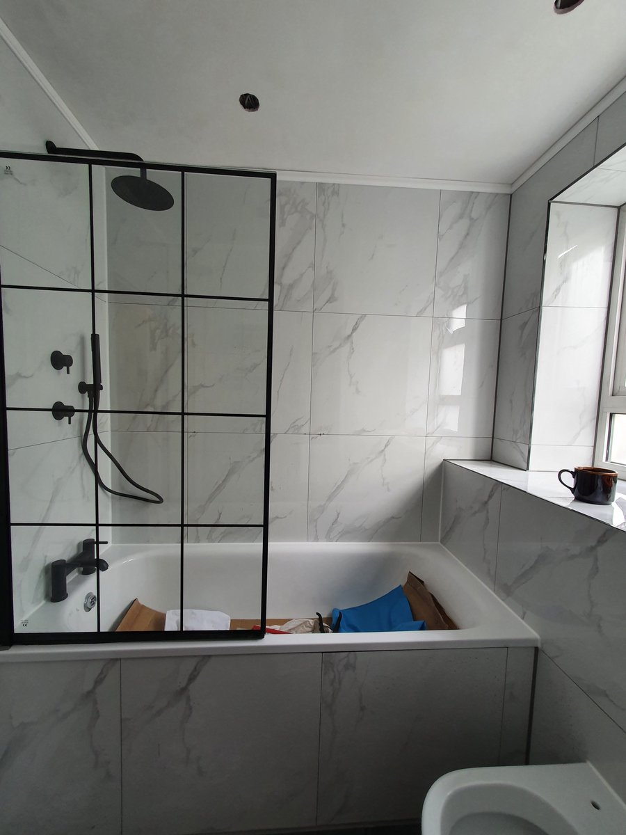 Completion of extensive #bathroomrenovation by #avmenconstruction is near.  Walls are fully tiled with large format #DigitalMarble 600x600 rectified  #porcelain tiles. Bathroom fitting takes place in between #swisscottage and #belsizepark #Camden. #NorthWest west London. https://t.co/1G9Ma8ZM7V