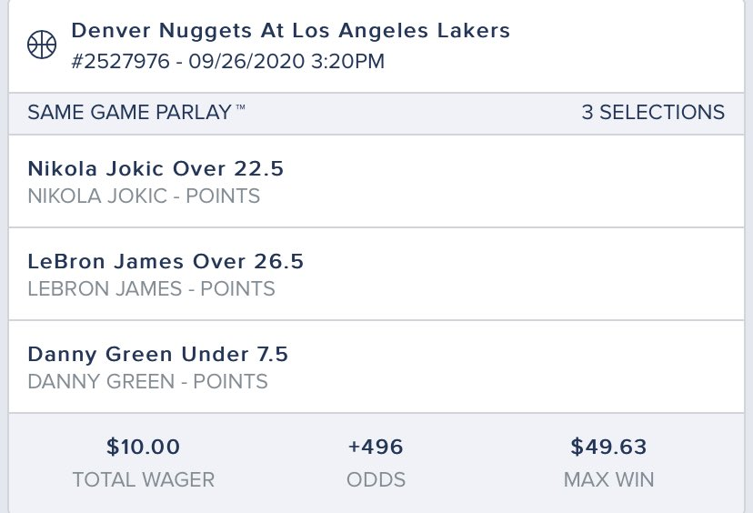 FanDuel has a $10 risk free parlay promo for Nuggets Lakers. Here's my stab at it https://t.co/2IlDceKud0 https://t.co/WexK20Xss9