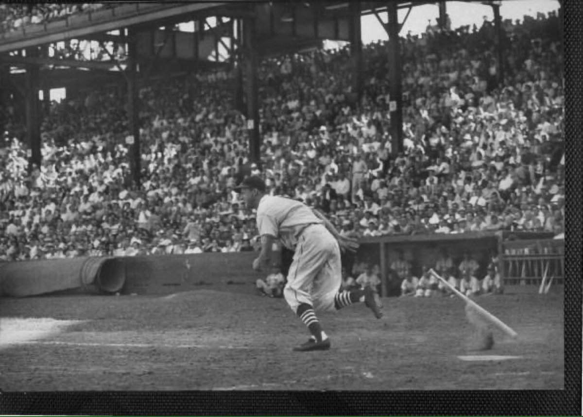 """Old Days""The Cardinals Stan Musial lines one of the many hits he had at Ebbets Field in a late 1940s game vs the Dodgers.#STLCards  #StLouis #Dodgers #Brooklyn #1940s #StantheMan https://t.co/1Aqy8NB3T4"
