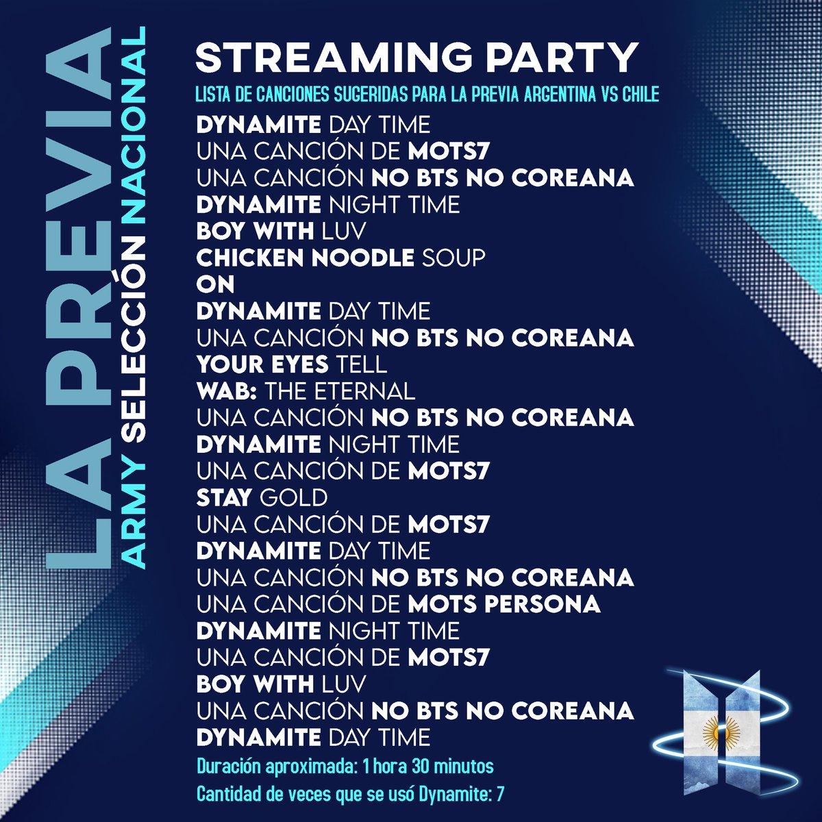 [Argentina vs Chile #LAPREVIA]              🇦🇷vs🇨🇱  Mañana nos jugamos la copa Dynamérica con Chile, vamos a calentar los motores desde ahora con una streaming party 🗣🗣🗣  Tenés alguna playlist especial para mañana? Comentá o manda sus SS! @BTS_twt https://t.co/9v4Jrtj43A