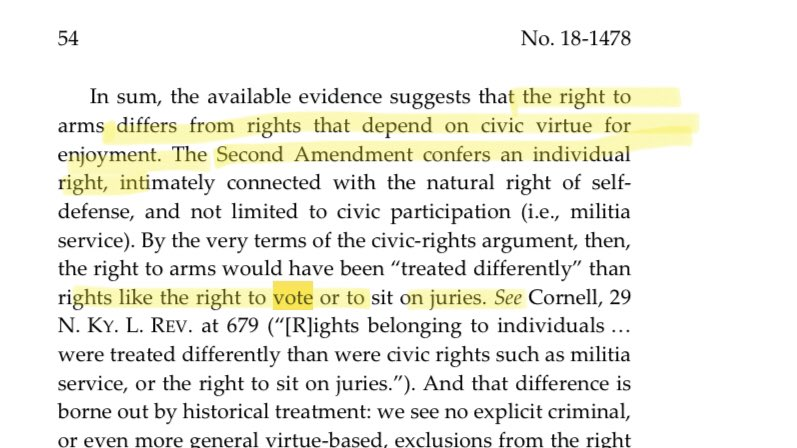 "🚨: In a 2019 dissent, Amy Coney Barrett said the Constitution protects the right of non-violent felons to own guns, but does NOT protect their right to vote.  Gun ownership is an ""individual right,"" but voting is a ""civic right"" belonging ""only to virtuous citizens"", she wrote. https://t.co/rar2WByuIf"