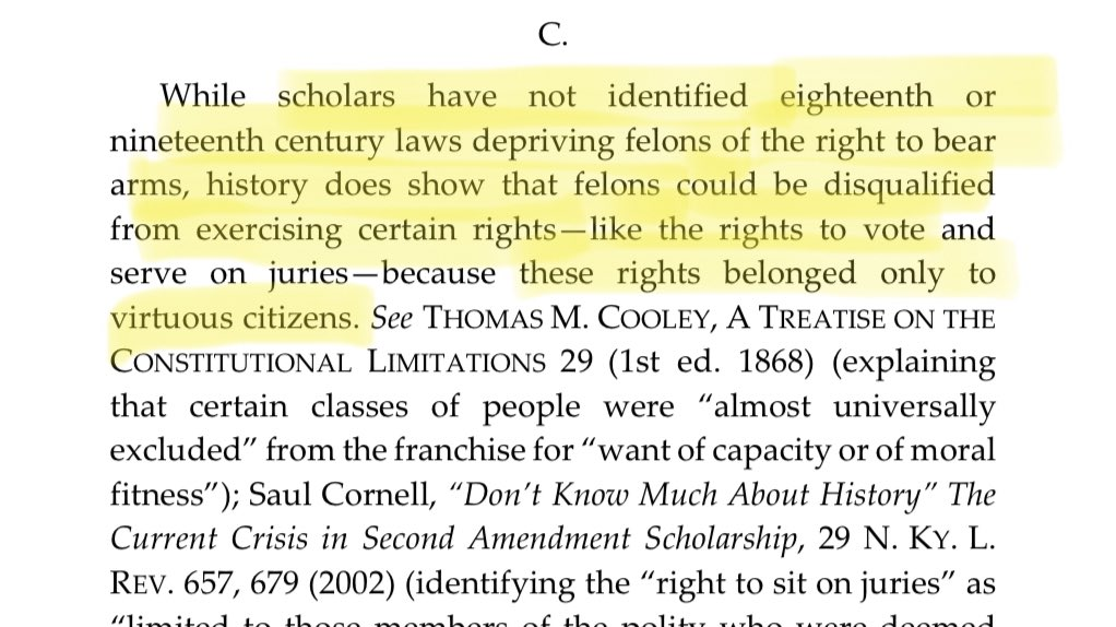 "Two Ronald Reagan appointees, Justices Ripple and Flaum, disagreed, ruling that guns rights are also reserved for ""virtuous citizens.""  Only Amy Coney Barrett claimed it should be more difficult to revoke gun rights than voting rights. https://t.co/CfqJuS3pld https://t.co/FH2nDA3C7i"
