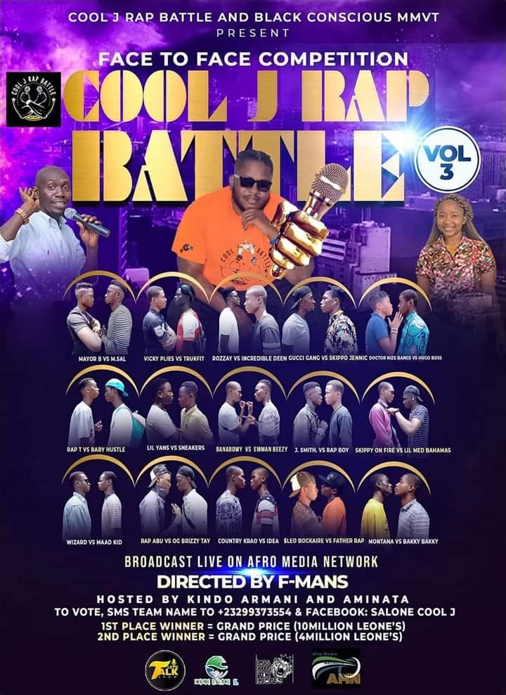 🇸🇱Cool J Rap Battle Vol.3 will be broadcast  🛰LIVE on 📺 Afro Media Network 👉  https://t.co/waSPXS7viV #232connect #SierraLeone #SaloneTwitter https://t.co/s66pykbhDN