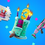 Image for the Tweet beginning: 🎂🎉🎈 It's Fortnite's 3rd Birthday so