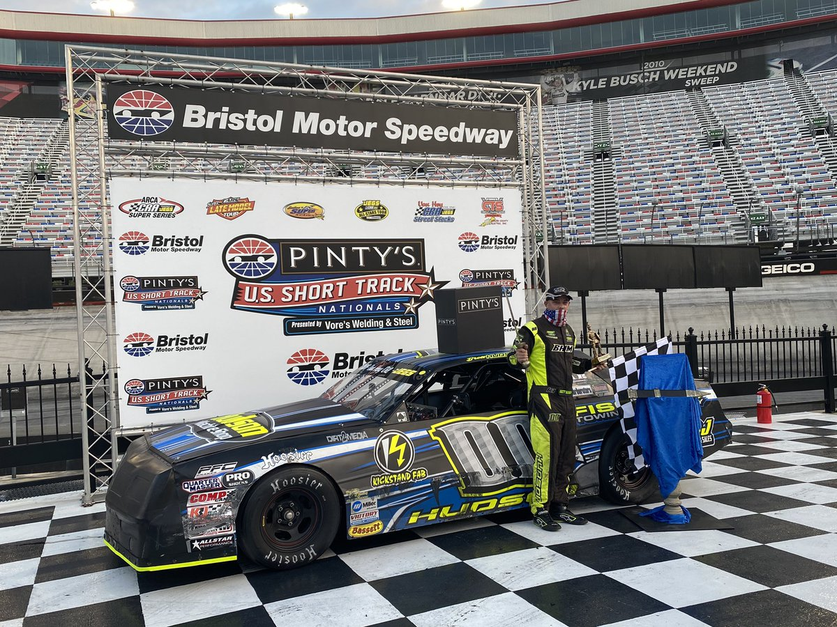 Brett Hudson wins the Street Stock A feature. #PintysShortTrackNats #ItsBristolBaby