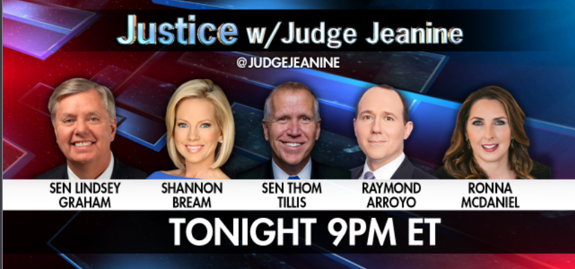 TONIGHT AT 9PM ET! @LindseyGrahamSC, @ShannonBream, @SenThomTillis, @RaymondArroyo, @GOPChairwoman, @dbongino, and @TheLeoTerrell are all joining me on 'Justice'! Be sure to tune in. https://t.co/6af8PlSqwC