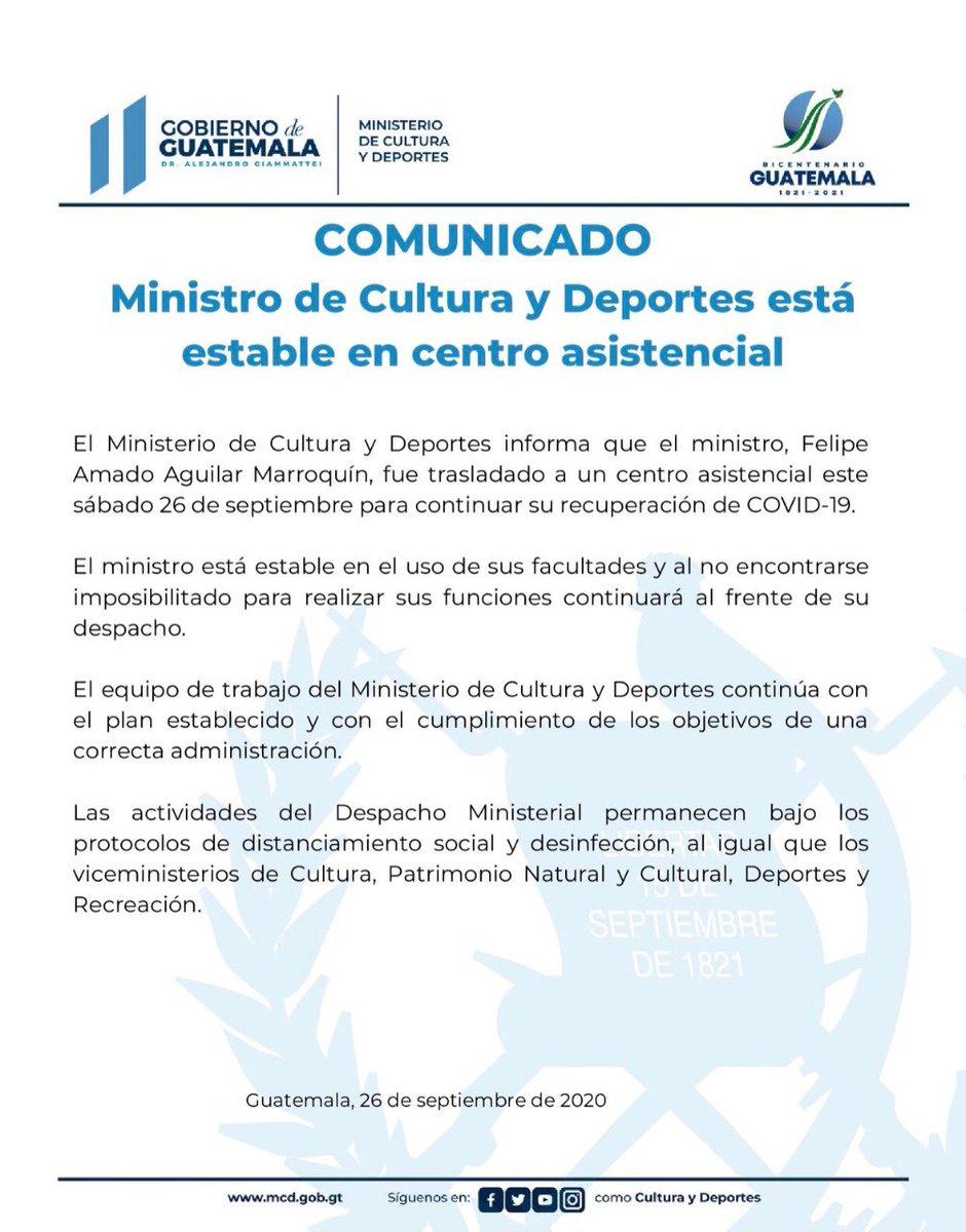 """test Twitter Media - El ministro de Cultura, Felipe Armando Aguilar Marroquín, fue trasladado a un centro asistencial """"para continuar con su recuperación de COVID-19"""". https://t.co/AhMfaaqnMy"""