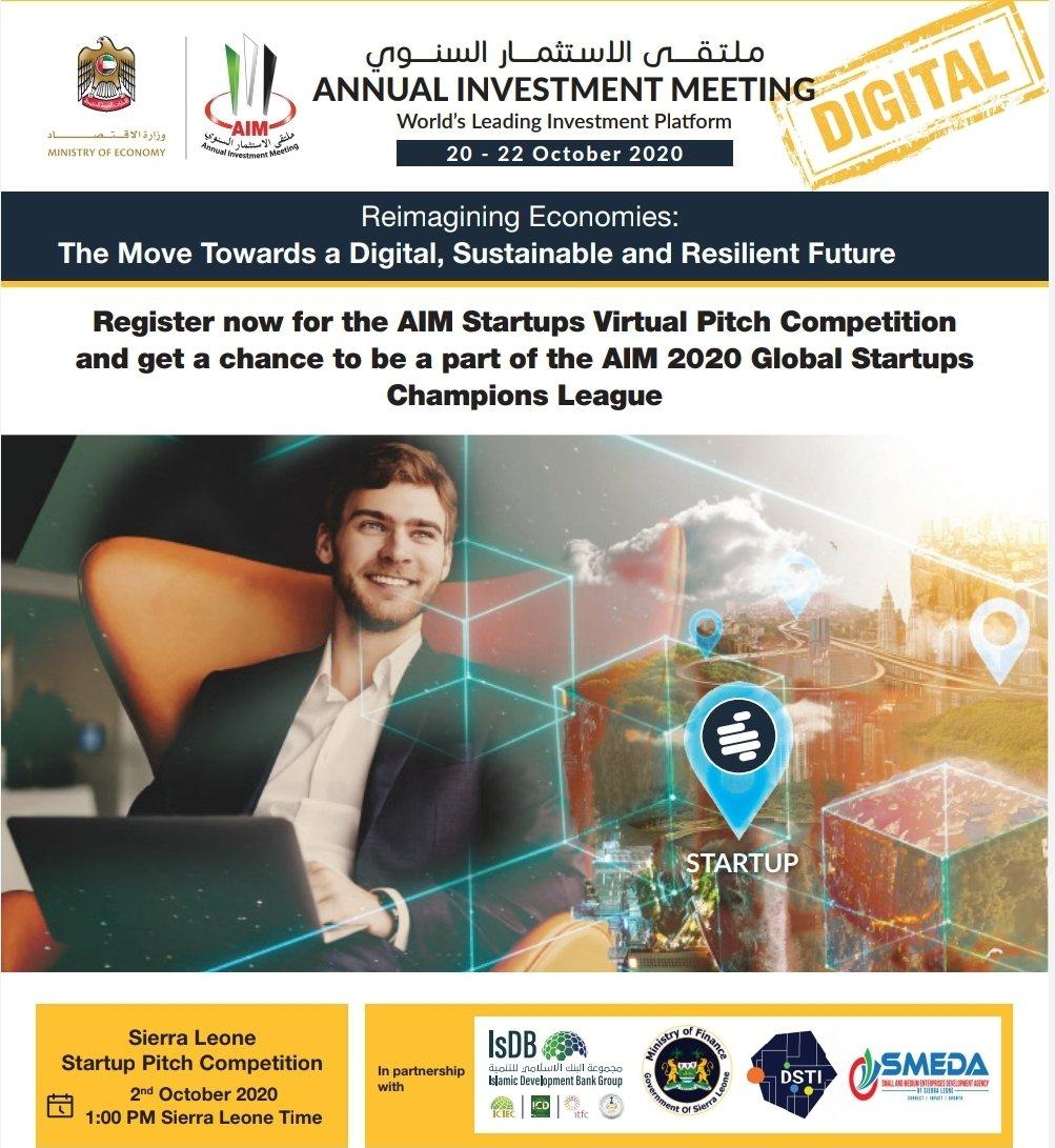 Register now: https://t.co/9yA2RmCTtB @mof_sl  @DSTISierraLeone  @isdb_group  @AIM_Congress #SierraLeone #entrepreneurship #innovation #technology #digital #startups #Competition #pitch #finance #money #edtech #agritech #fintech #realtech #AI #healthtech #Transportation #IoT https://t.co/HjjNiPZPgz