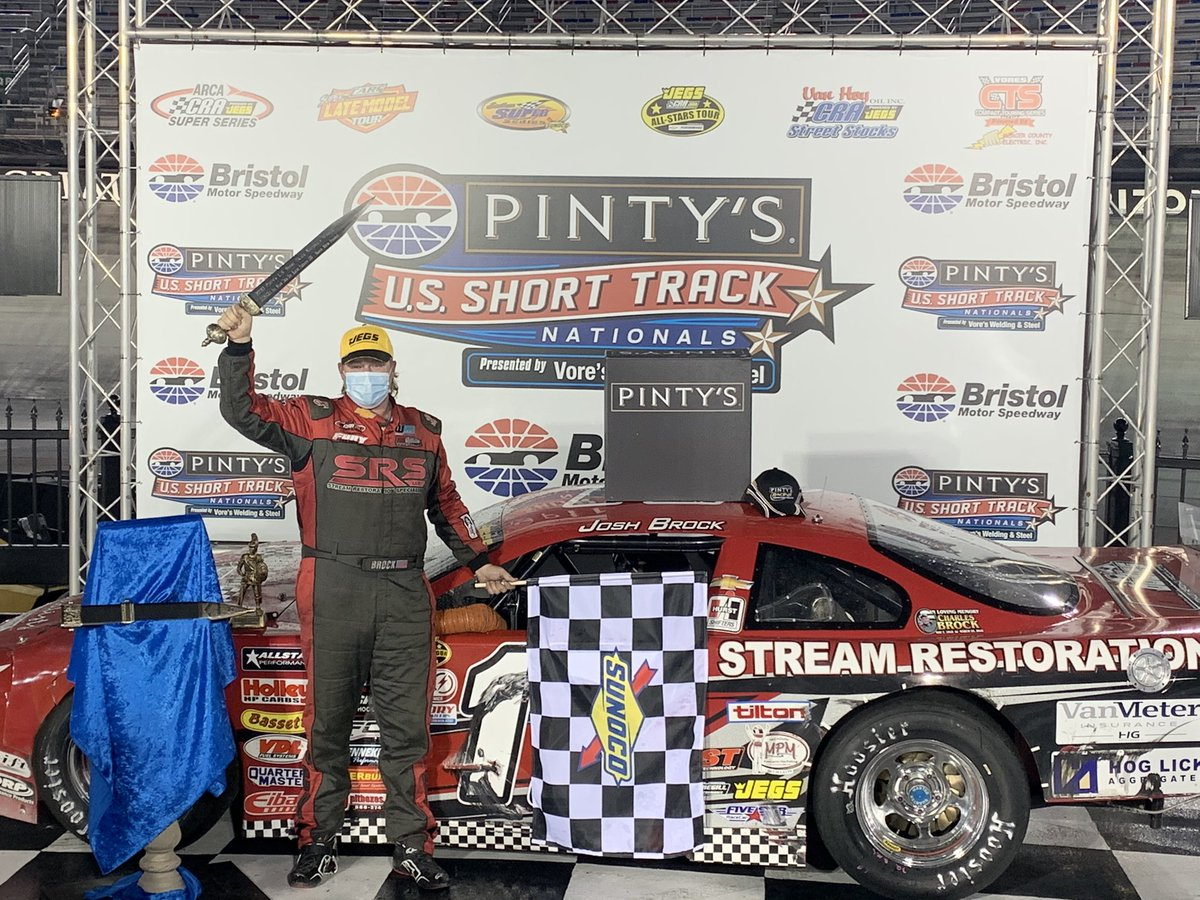 Josh Brock wins the Pro Late Model race at The Last Great Colosseum. #PintysShortTrackNats #ItsBristolBaby
