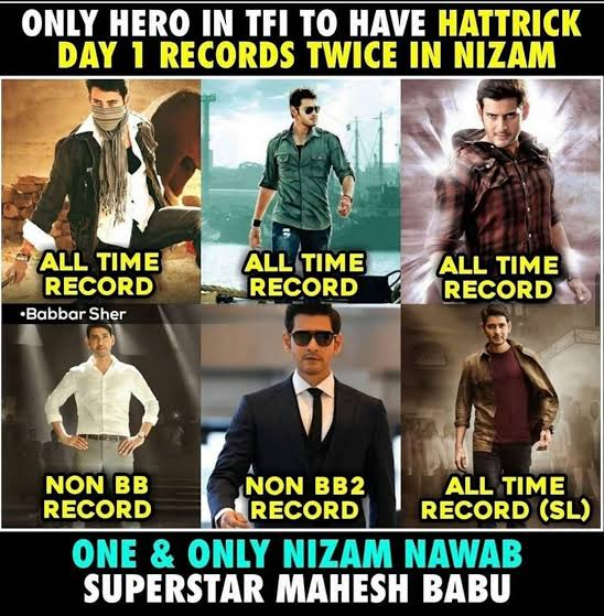 Good Morning All🏃🏃  Only hero in tfi to have hattrick day 1 records twice in NIZAM  #Khaleja all time record #Dookudu all time record #Businessman all time record #BharathAneNenu non bb record #Maharshi non bb2 record #SarileruNeekevvaru all time record  #SarkaruVaariPaata https://t.co/85ft3AqjeW