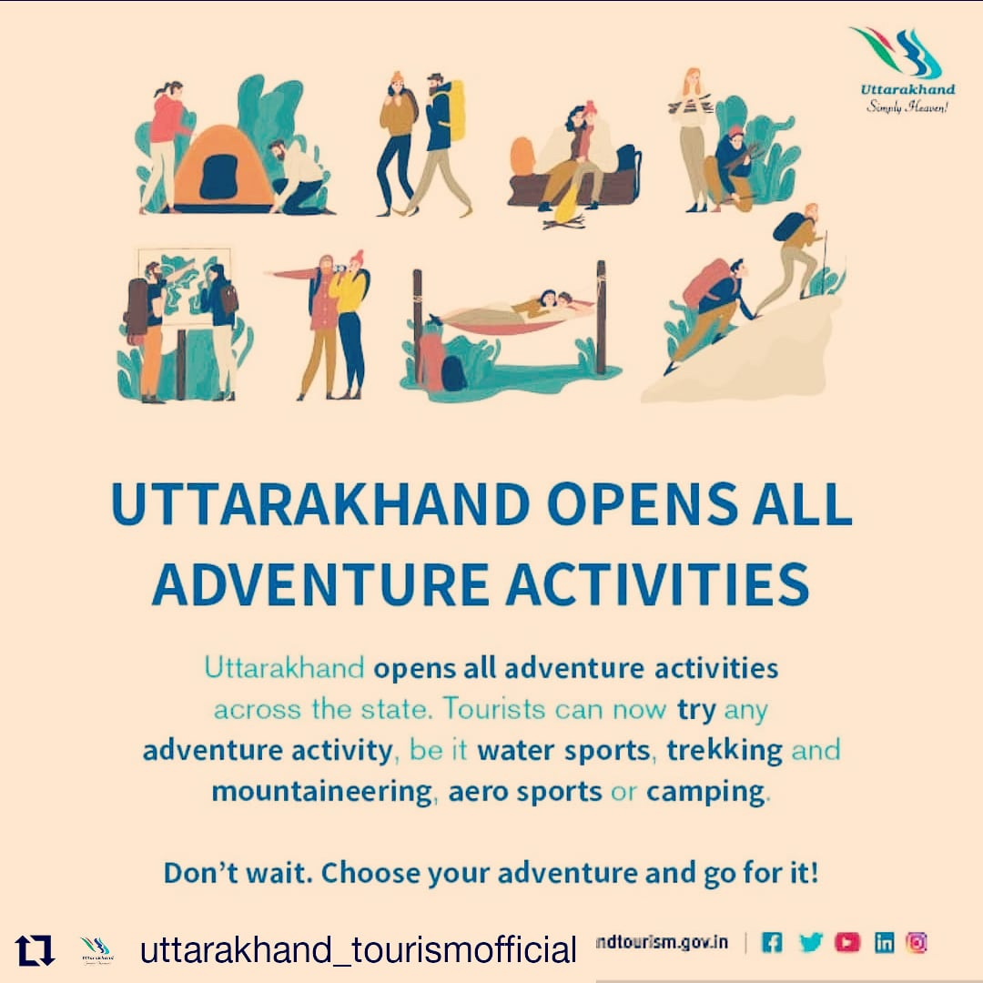 Uttarakhand opens all adventure activities across the state.  . Photo uttarakhand_tourismofficial . #uttarakhandadventure #adventureculture #adventureland #camping #trekking #wateradventures #mountaineering #aerosport #simplyamazing #majesticuttarakhand #himalayas #guidelines https://t.co/mYup4r9Q7E