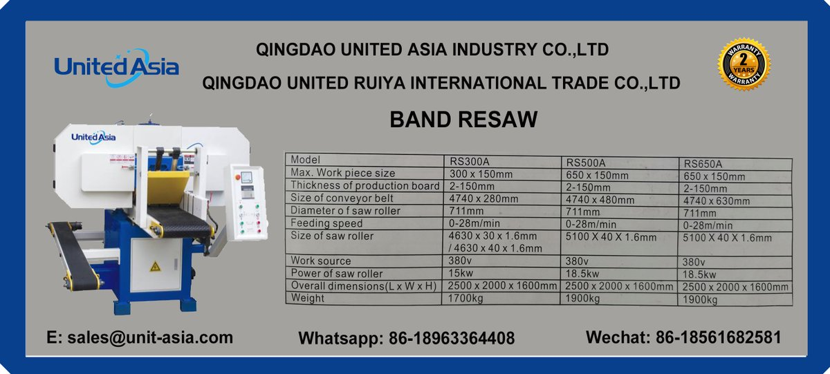 RS300A RS500A RS650A band resaw from United Asia Industry  #machinery #woodworking #saw #band saw #woodworking machine #woodworking machinery #band resaw https://t.co/eURr4KKjwS