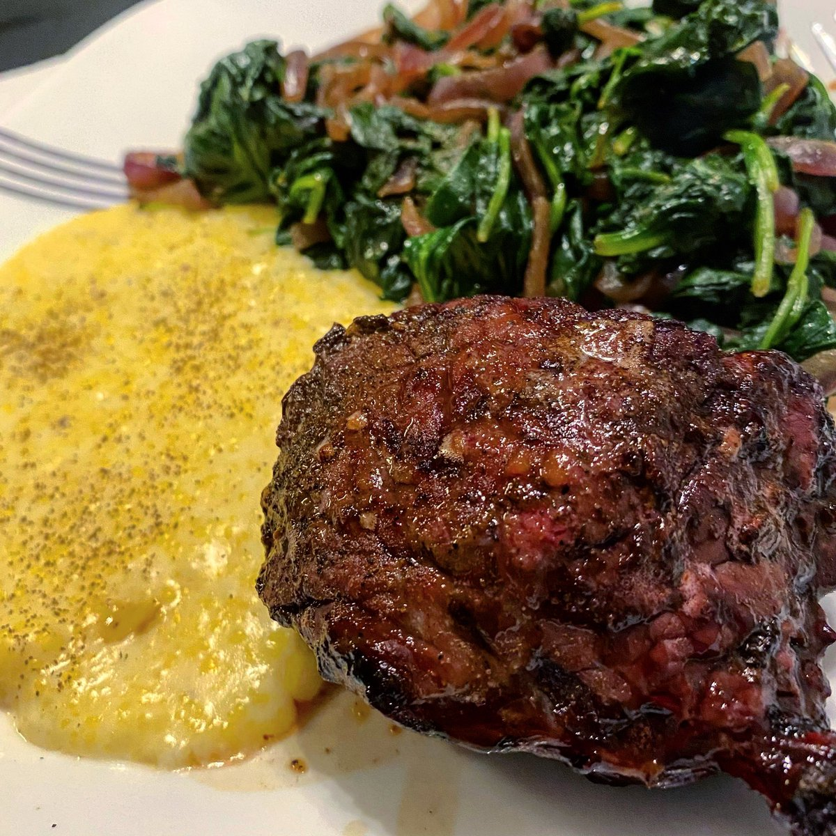 No hike today, but we did have a good #dinnerathome. Creamy polenta, sautéed spinach with onions, and #steak. We've eaten out once since #covid_19 started and do not get nearly as much take out. So, I've been working on my #cooking skills in the mean time😋 #saturdaynightathome https://t.co/aoSMfKKB84
