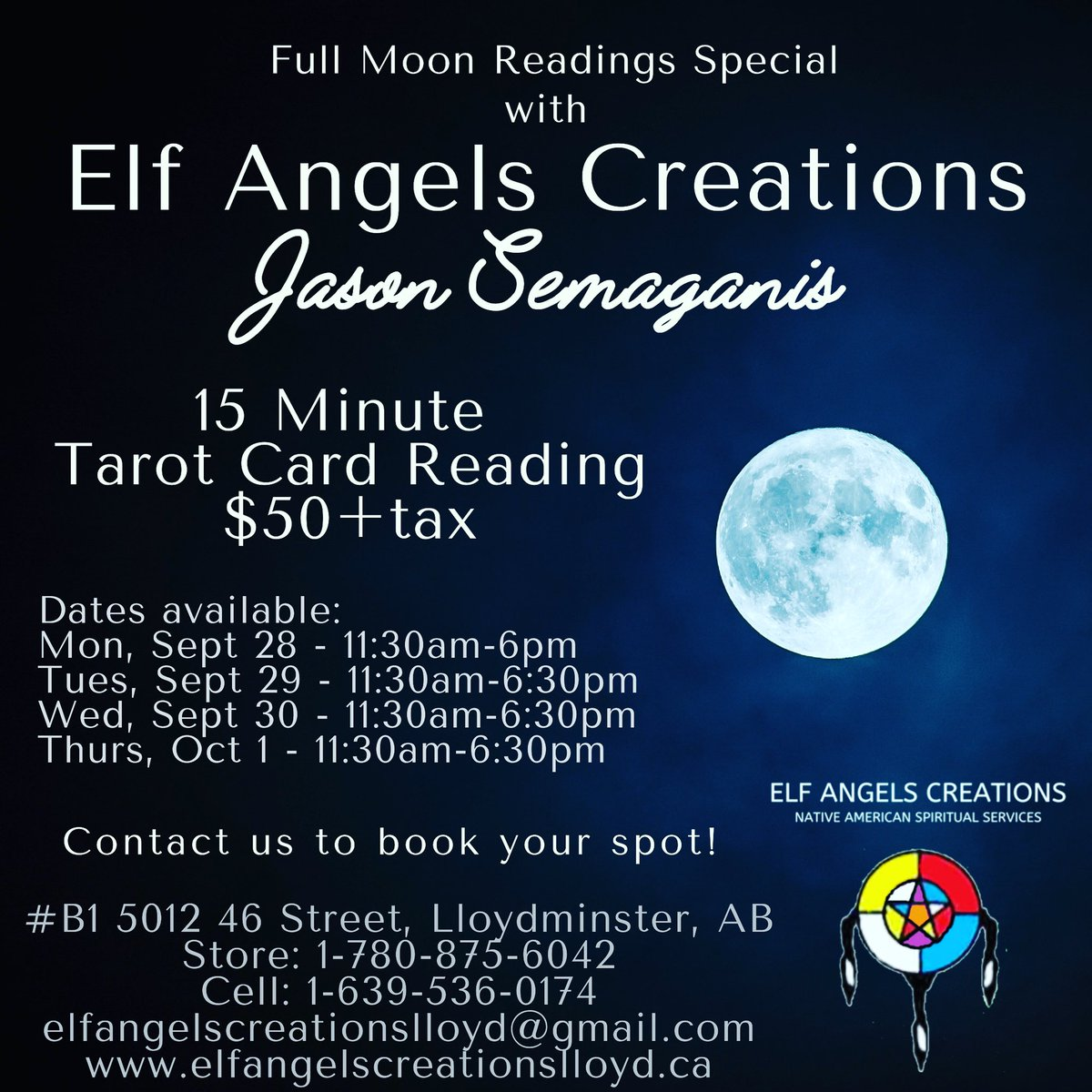 Full Moon Readings with Jason Semaganis! A 15 Minute Tarot Card Reading is $50+tax! 🌝  https://t.co/m0cixiZnQc #B1 5012 46 Street, Lloydminster Office: 1 (780) 875-6042 Cell: 1 (639) 536-0174 elfangelscreationslloyd@gmail.com  #FullMoon #Readings #Tarot #Special #Sale #SK #AB https://t.co/NmB979LZ0j