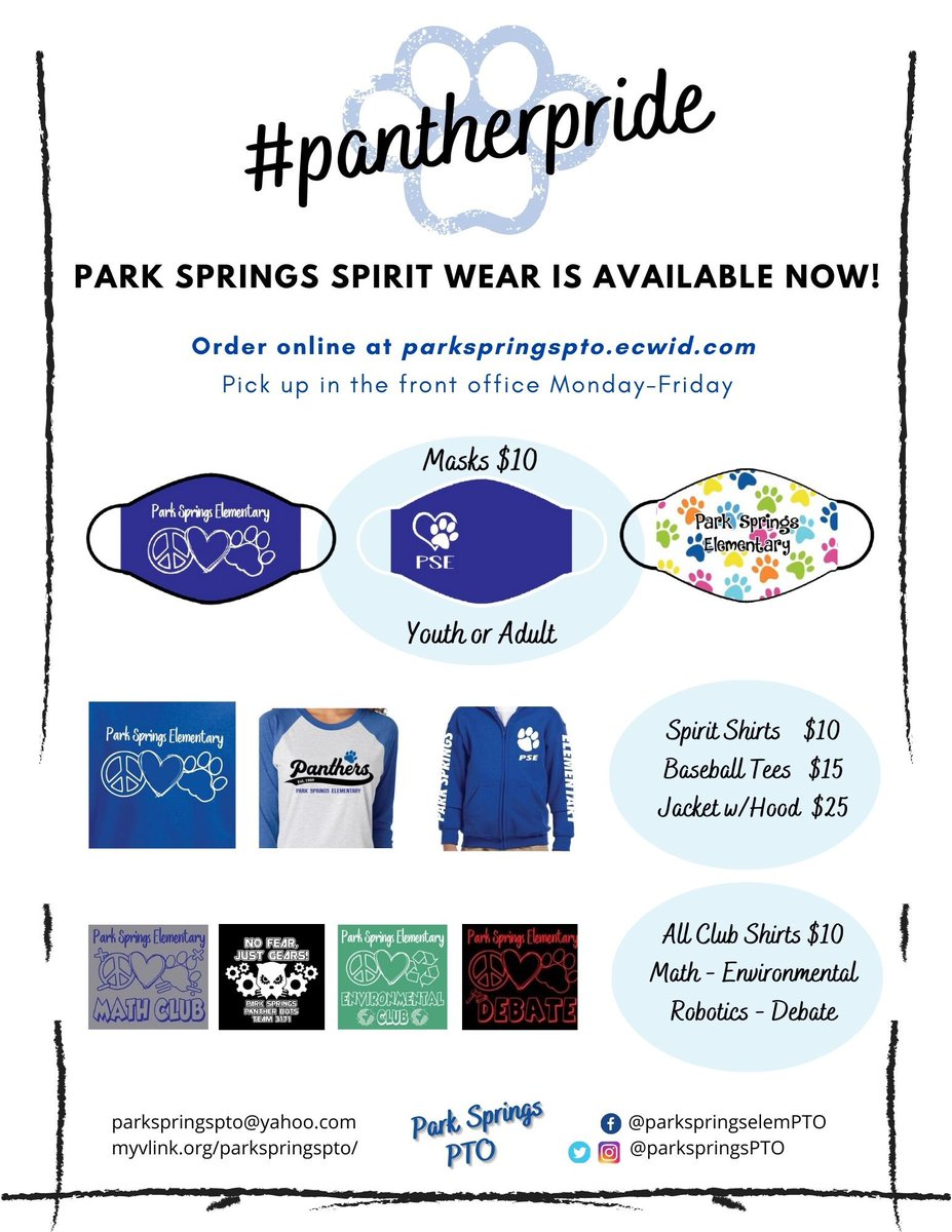Thanks for supporting the PSE PTO with your mask & spirit wear orders! We want to have what YOU want to be ready to show #psepantherpride at school & home! Place mask orders this weekend! #parkspringspto #psepanthers #psespiritwear #schoolcolors @PSEpanther https://t.co/N32G8hfDPd